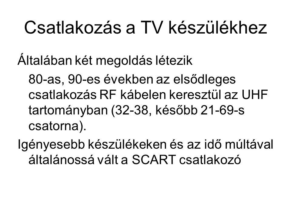 Csatlakozás a TV készülékhez