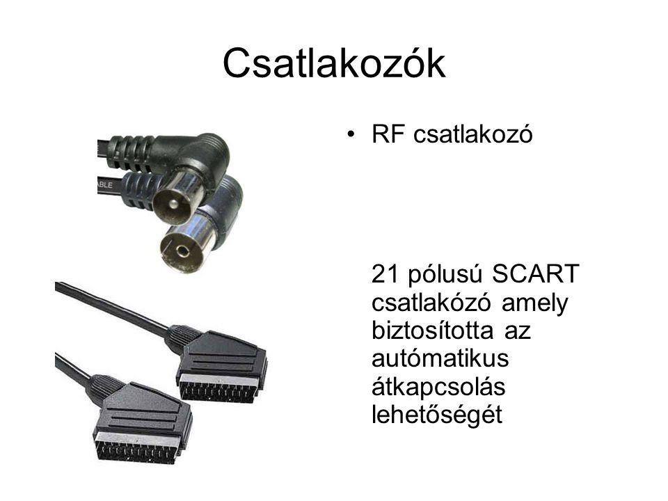 Csatlakozók RF csatlakozó 21 pólusú SCART csatlakózó amely biztosította az autómatikus átkapcsolás lehetőségét.