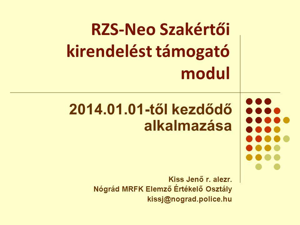 RZS-Neo Szakértői kirendelést támogató modul