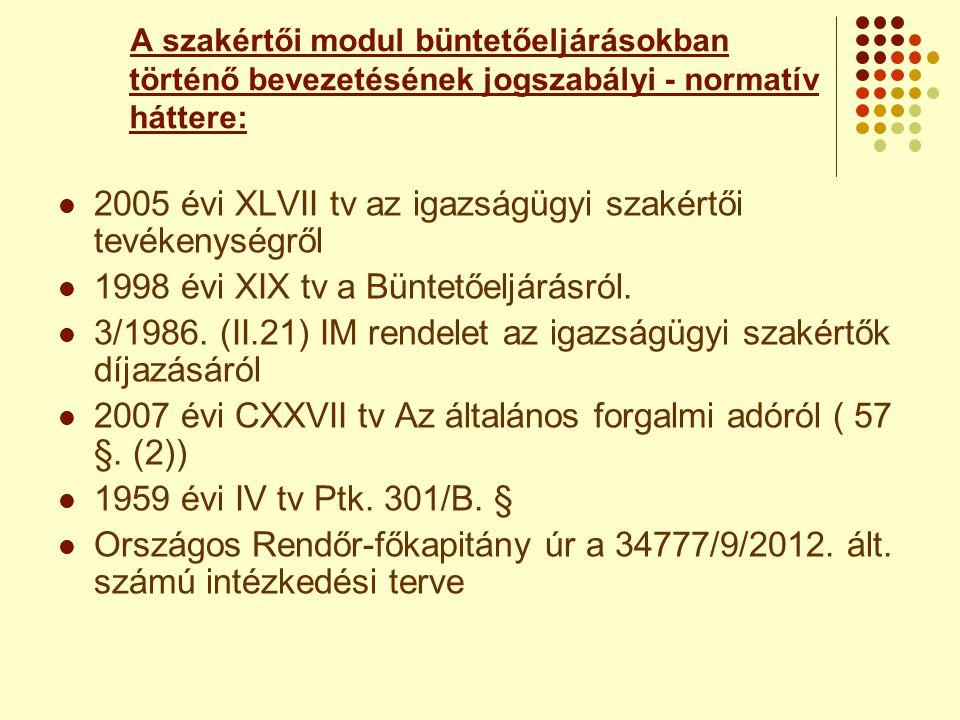 2005 évi XLVII tv az igazságügyi szakértői tevékenységről