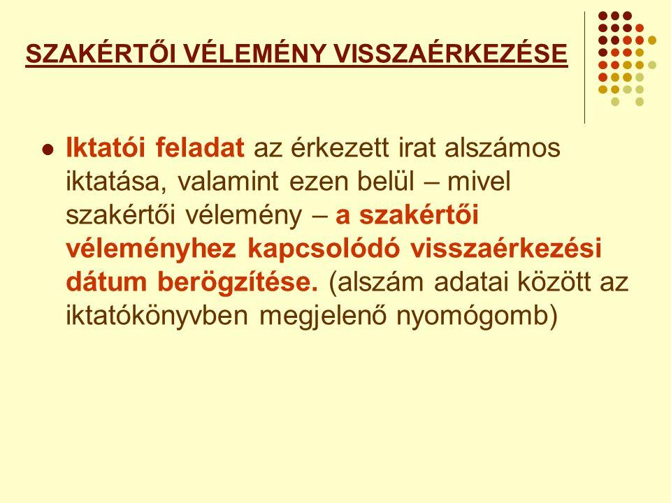 SZAKÉRTŐI VÉLEMÉNY VISSZAÉRKEZÉSE