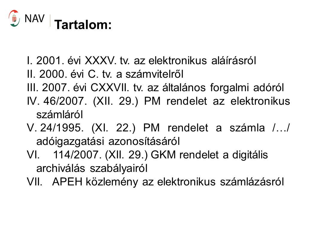 Tartalom: 2001. évi XXXV. tv. az elektronikus aláírásról