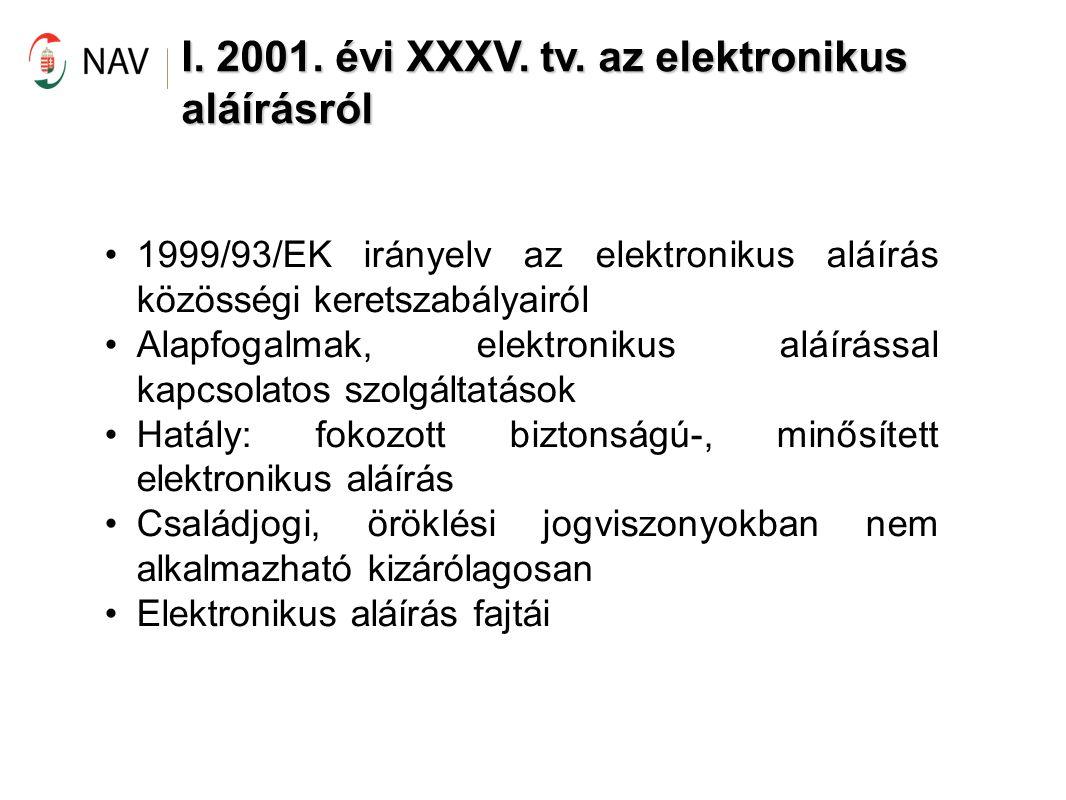 I. 2001. évi XXXV. tv. az elektronikus aláírásról