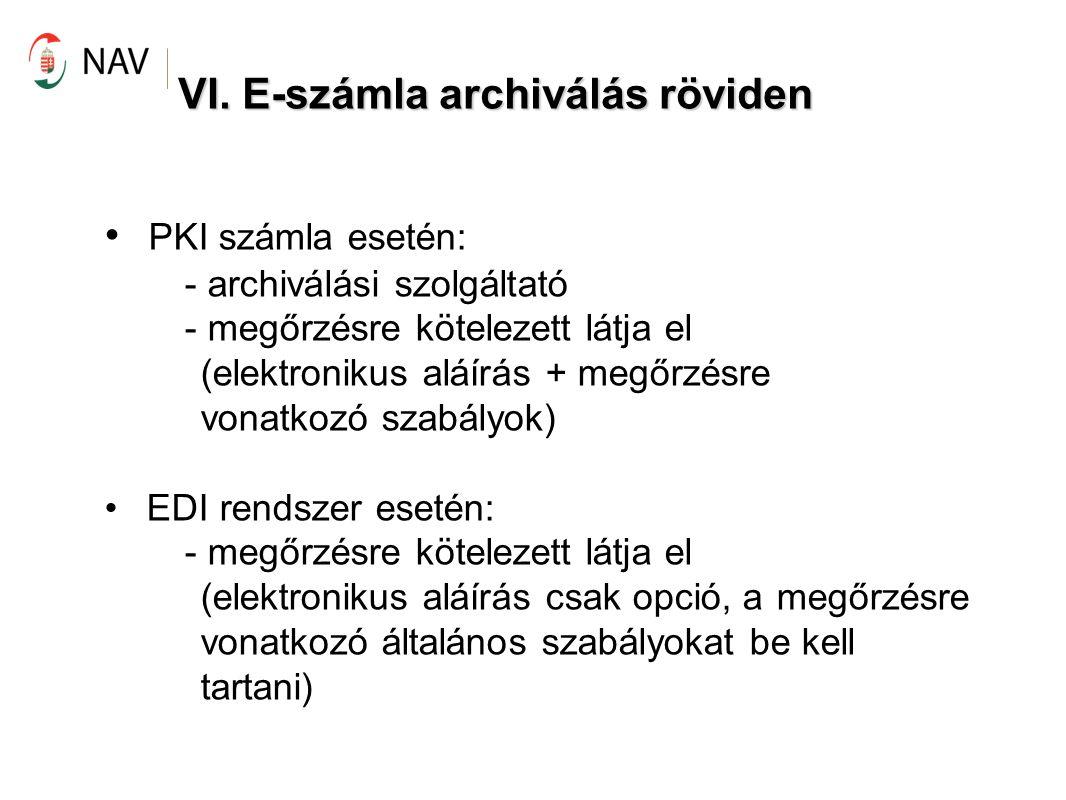 VI. E-számla archiválás röviden