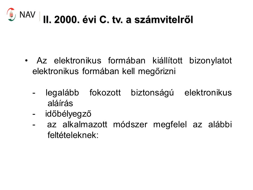 II. 2000. évi C. tv. a számvitelről