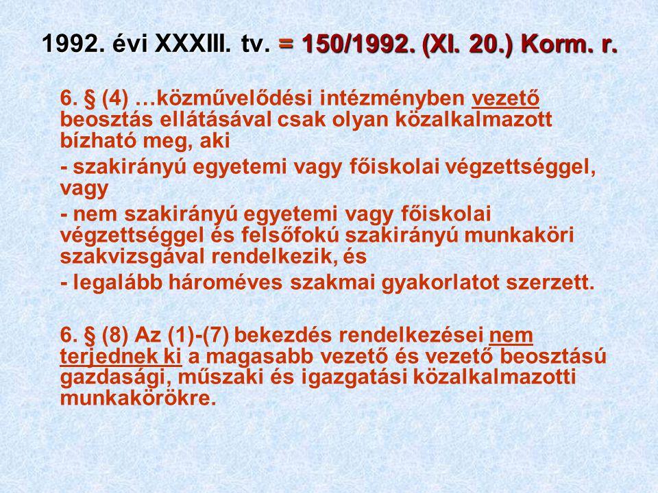 1992. évi XXXIII. tv. = 150/1992. (XI. 20.) Korm. r.