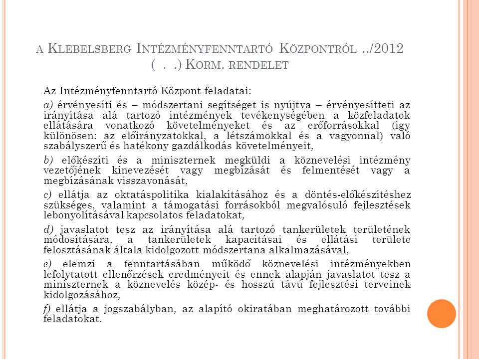 a Klebelsberg Intézményfenntartó Központról ../2012 ( . .) Korm. rendelet