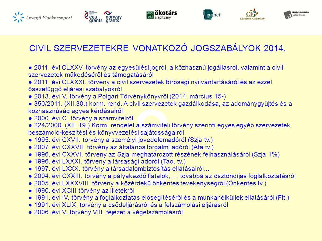 CIVIL SZERVEZETEKRE VONATKOZÓ JOGSZABÁLYOK 2014.