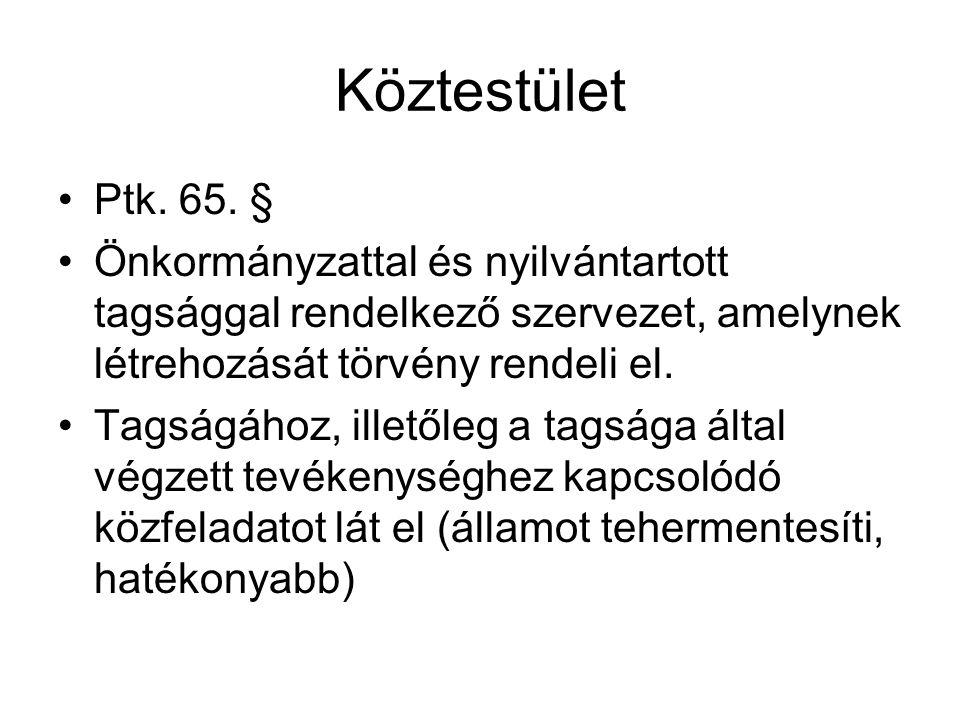 Köztestület Ptk. 65. § Önkormányzattal és nyilvántartott tagsággal rendelkező szervezet, amelynek létrehozását törvény rendeli el.
