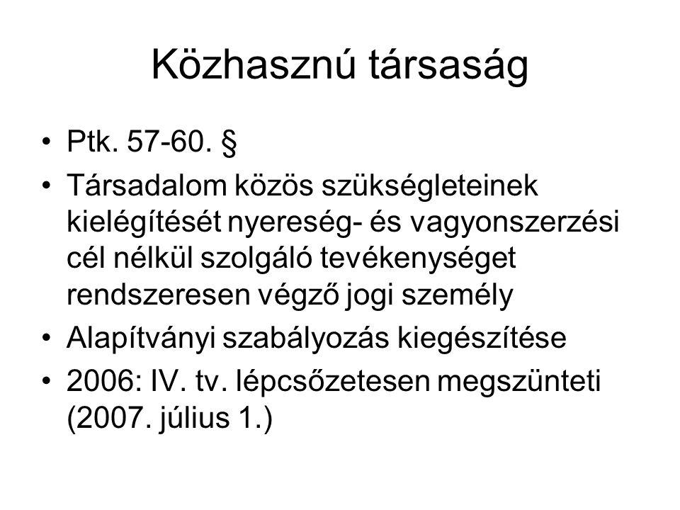 Közhasznú társaság Ptk. 57-60. §