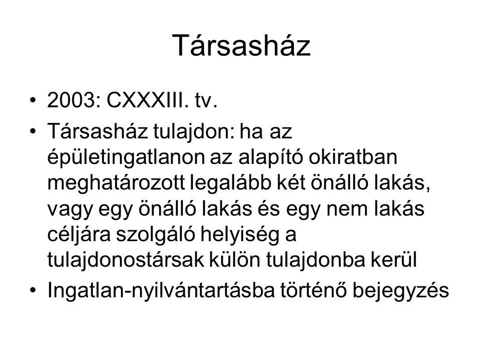 Társasház 2003: CXXXIII. tv.
