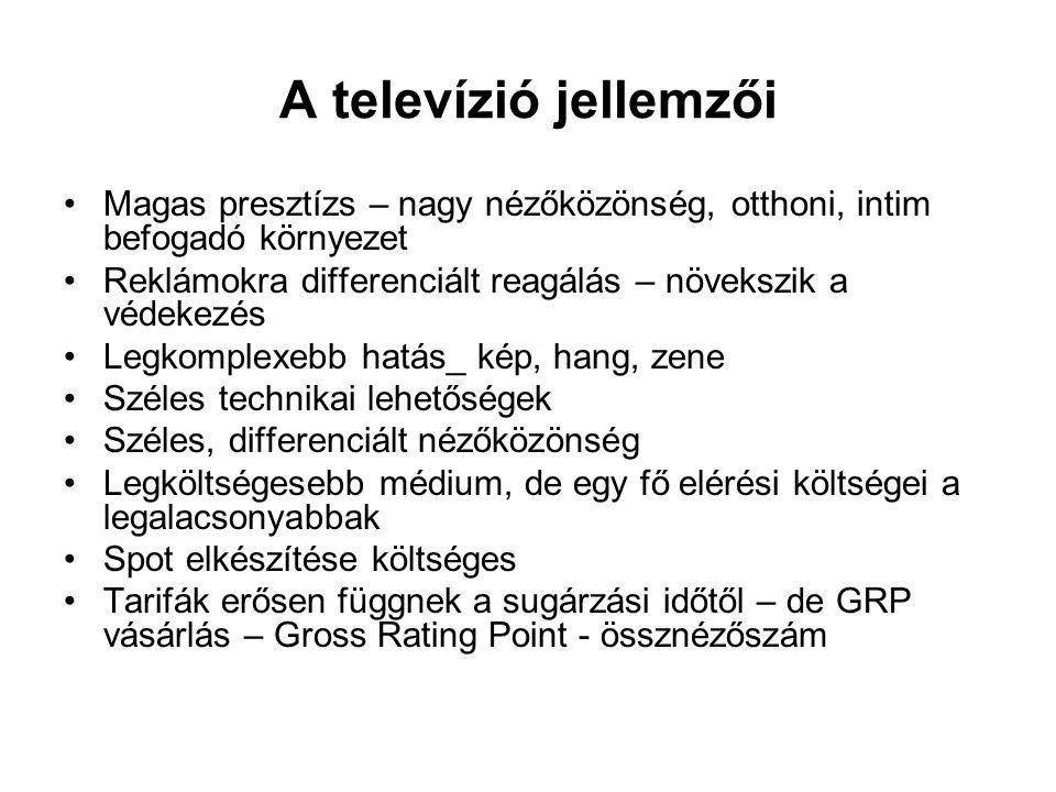 A televízió jellemzői Magas presztízs – nagy nézőközönség, otthoni, intim befogadó környezet.