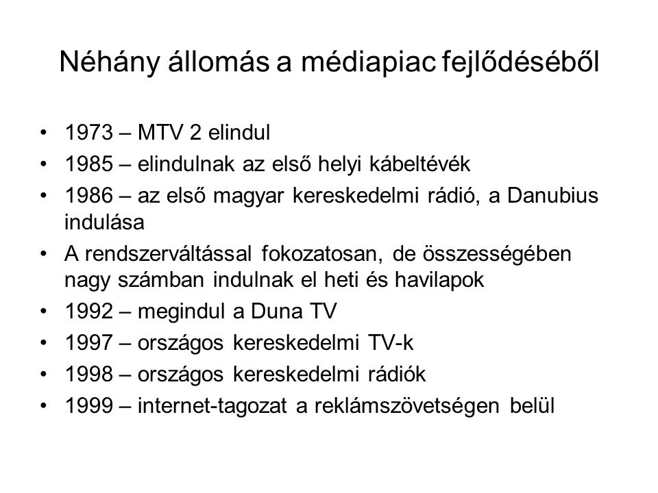 Néhány állomás a médiapiac fejlődéséből