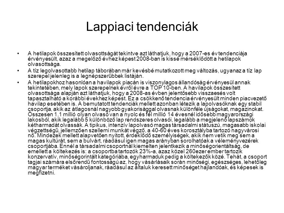 Lappiaci tendenciák