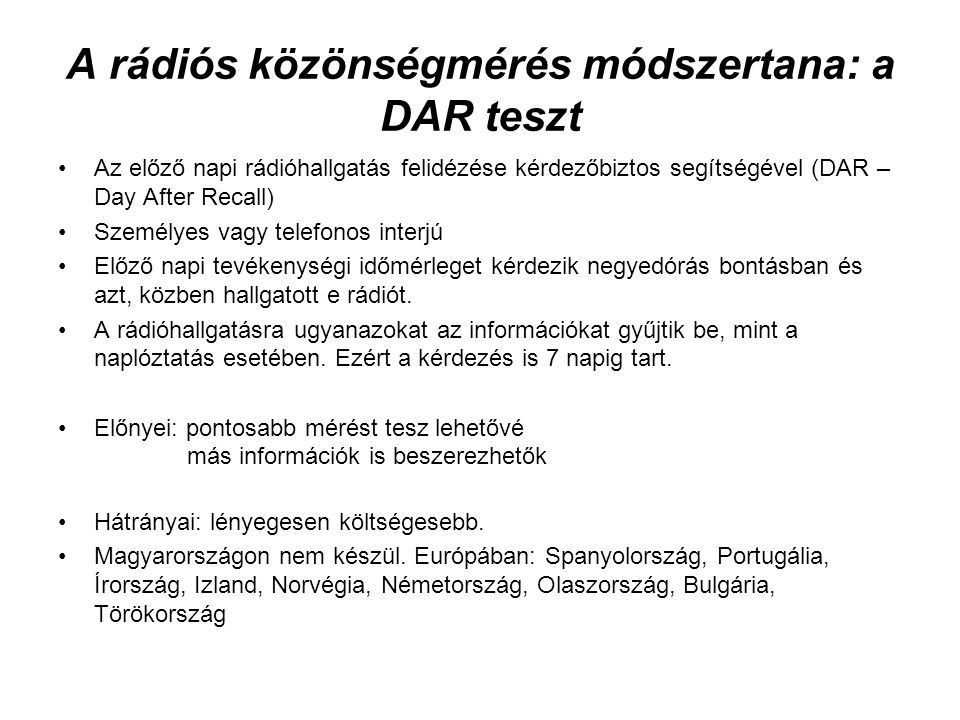 A rádiós közönségmérés módszertana: a DAR teszt
