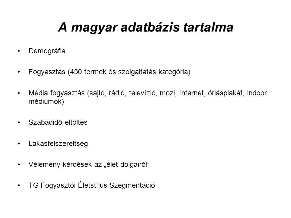 A magyar adatbázis tartalma