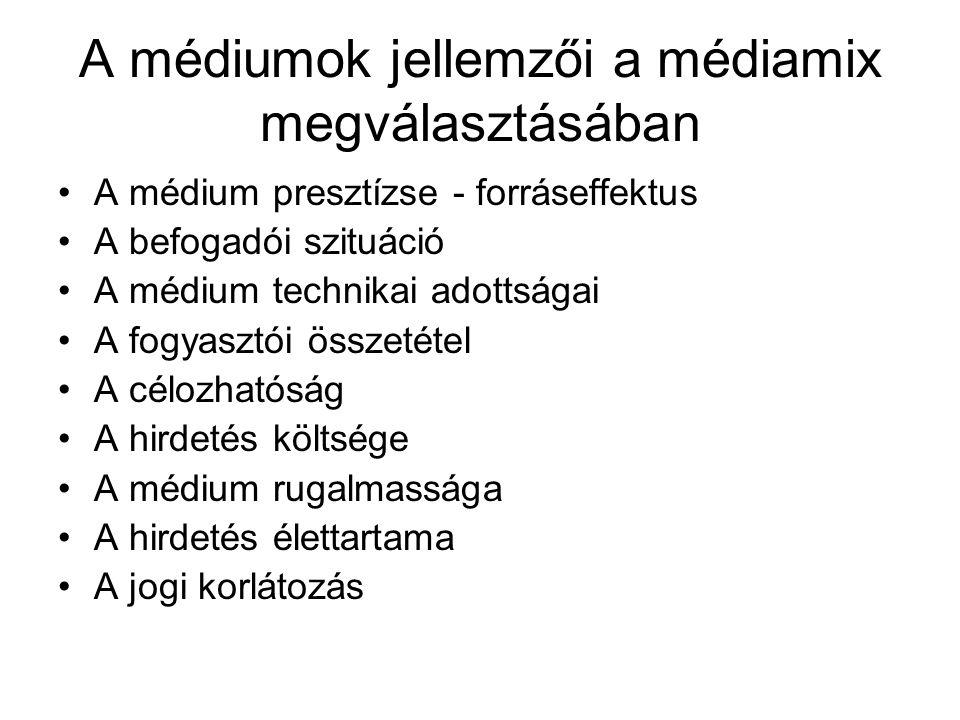 A médiumok jellemzői a médiamix megválasztásában