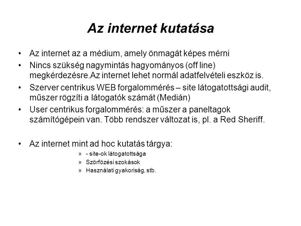 Az internet kutatása Az internet az a médium, amely önmagát képes mérni.