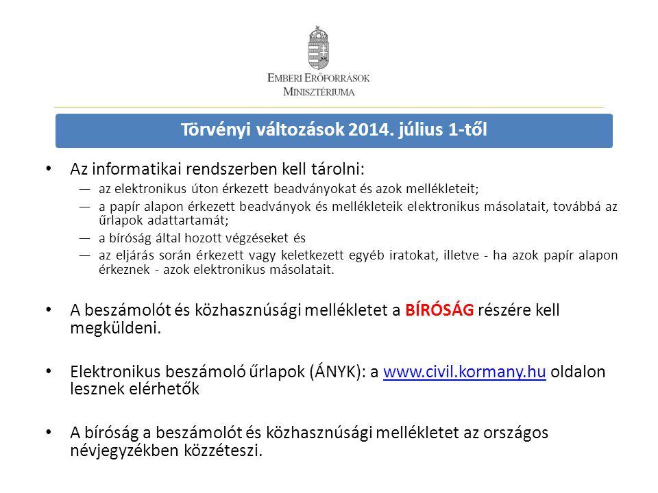Törvényi változások 2014. július 1-től