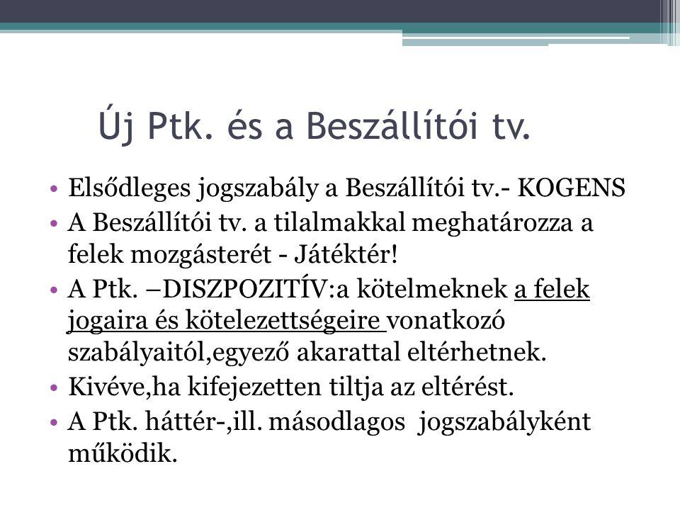 Új Ptk. és a Beszállítói tv.