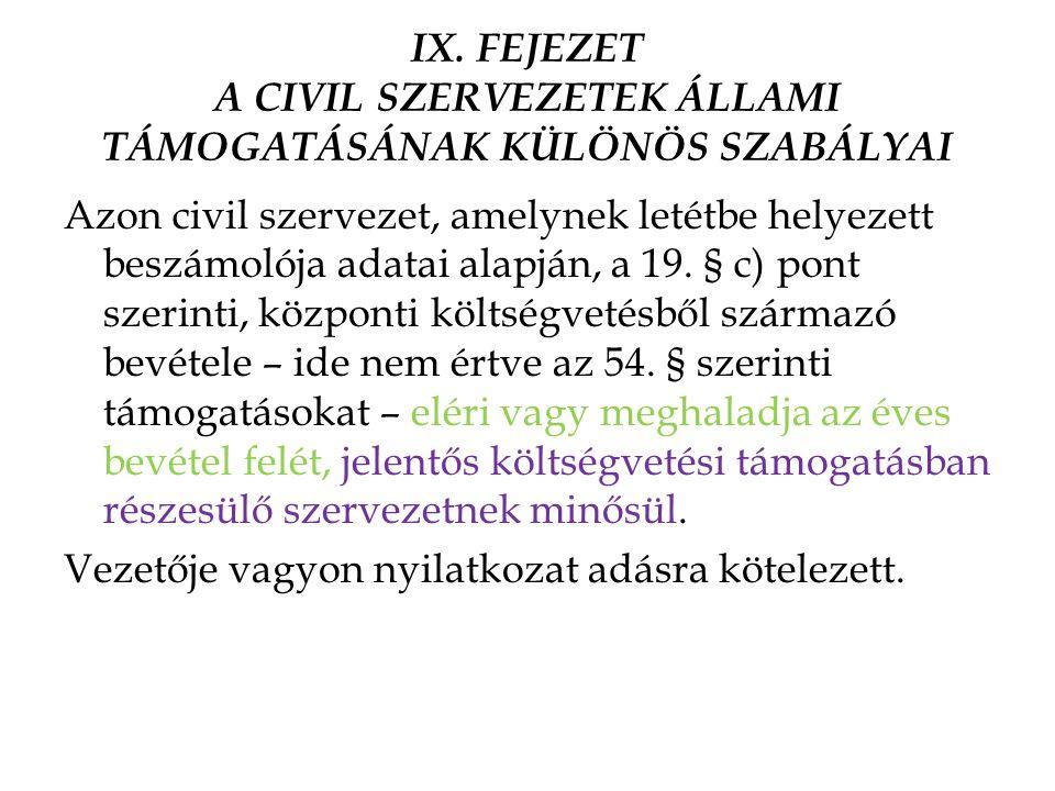IX. FEJEZET A CIVIL SZERVEZETEK ÁLLAMI TÁMOGATÁSÁNAK KÜLÖNÖS SZABÁLYAI