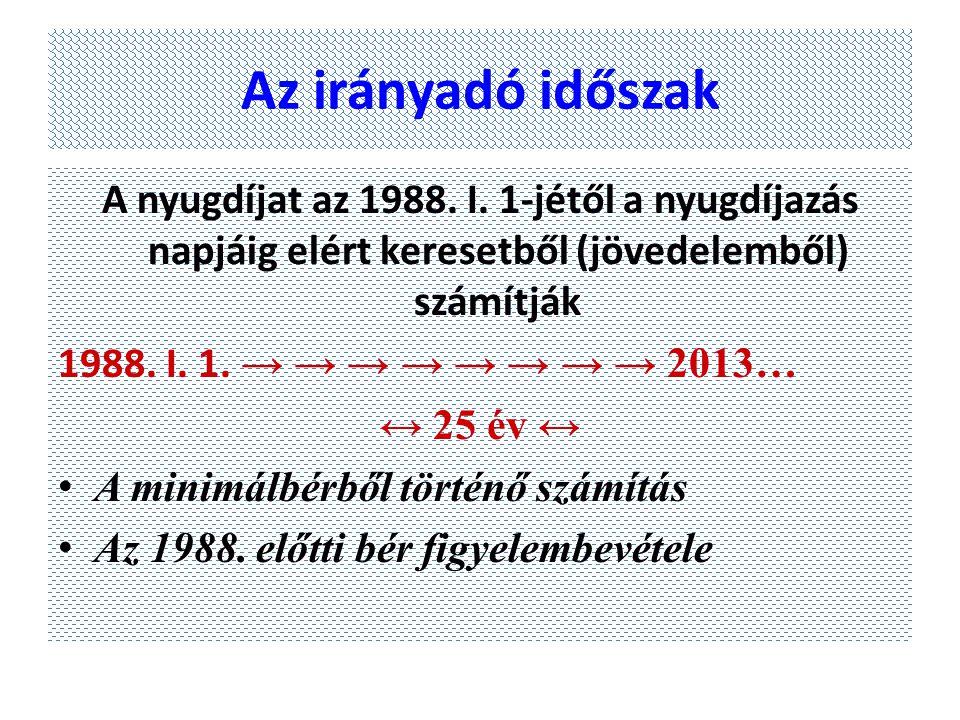 Az irányadó időszak A nyugdíjat az 1988. I. 1-jétől a nyugdíjazás napjáig elért keresetből (jövedelemből) számítják.