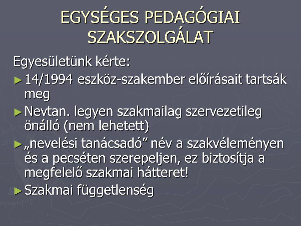 EGYSÉGES PEDAGÓGIAI SZAKSZOLGÁLAT