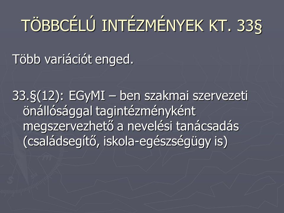 TÖBBCÉLÚ INTÉZMÉNYEK KT. 33§
