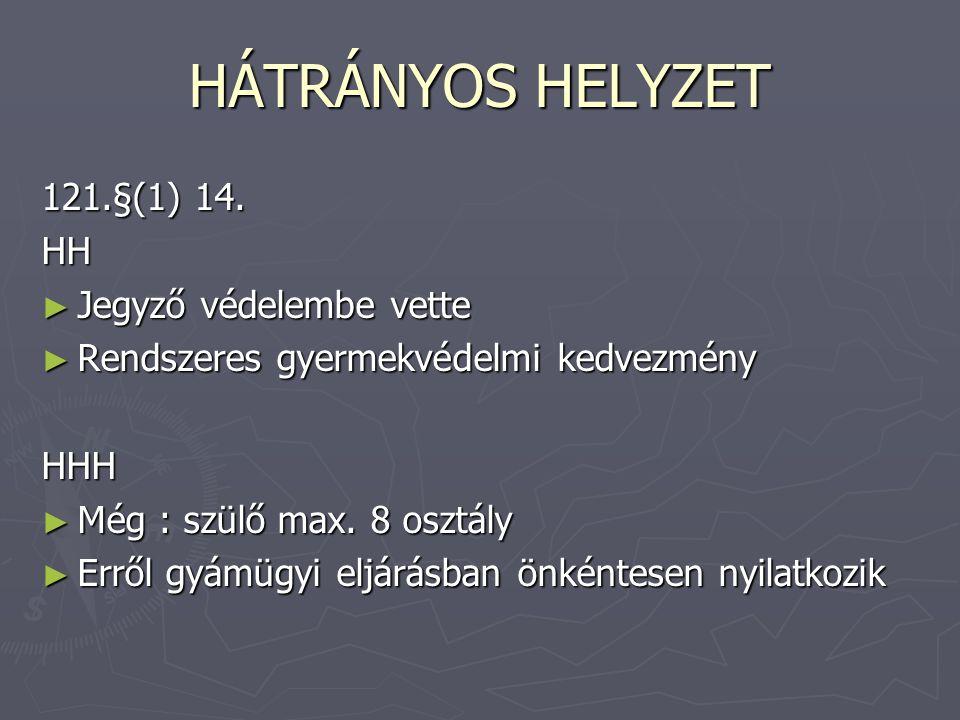 HÁTRÁNYOS HELYZET 121.§(1) 14. HH Jegyző védelembe vette