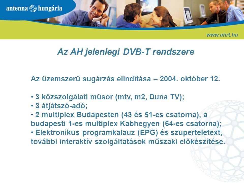 Az AH jelenlegi DVB-T rendszere