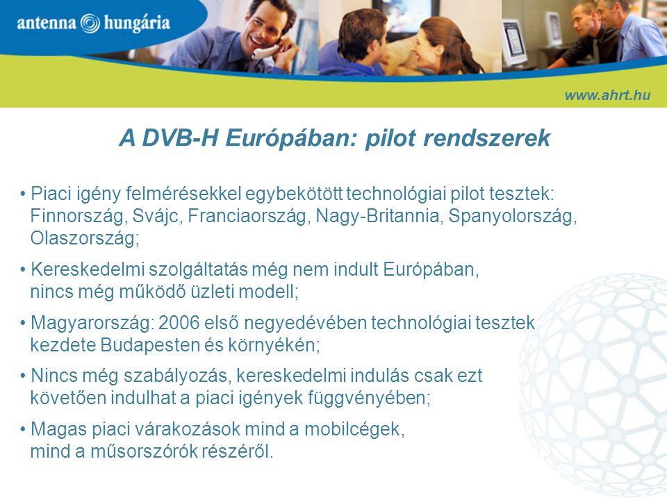A DVB-H Európában: pilot rendszerek