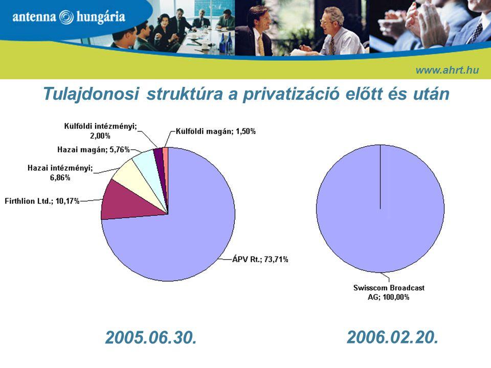Tulajdonosi struktúra a privatizáció előtt és után