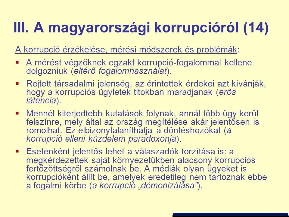 III. A magyarországi korrupcióról (14)