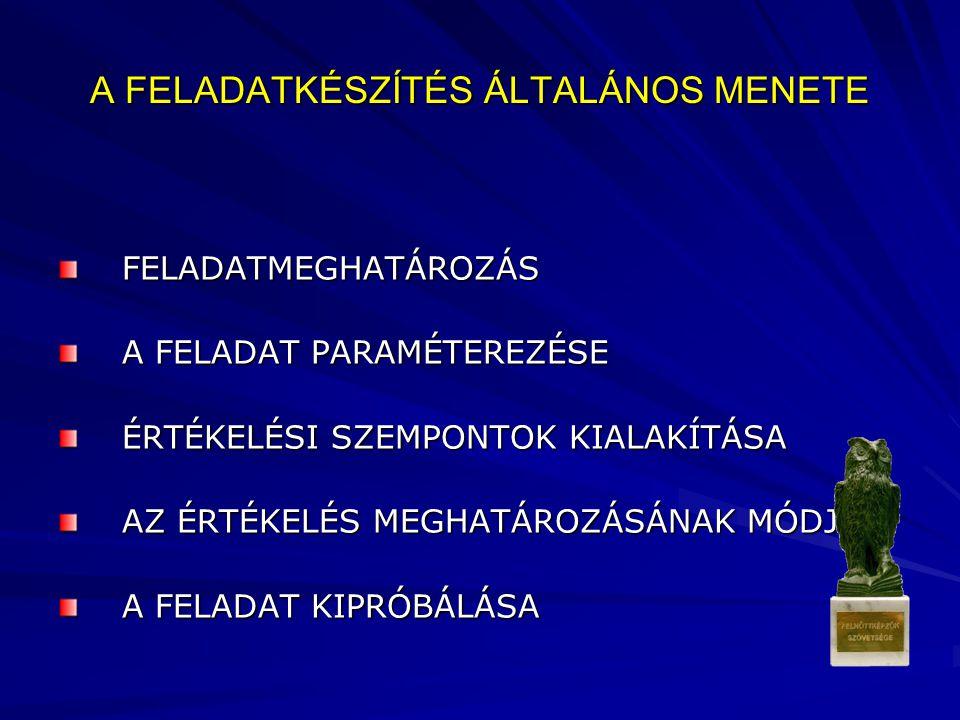 A FELADATKÉSZÍTÉS ÁLTALÁNOS MENETE