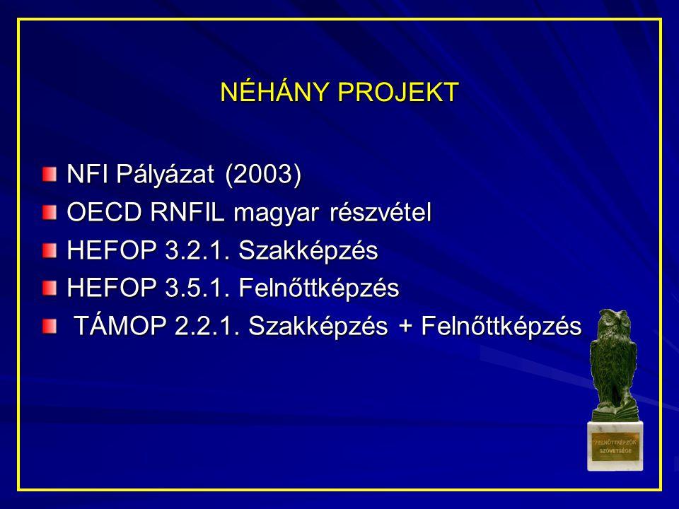 NÉHÁNY PROJEKT NFI Pályázat (2003) OECD RNFIL magyar részvétel. HEFOP 3.2.1. Szakképzés. HEFOP 3.5.1. Felnőttképzés.