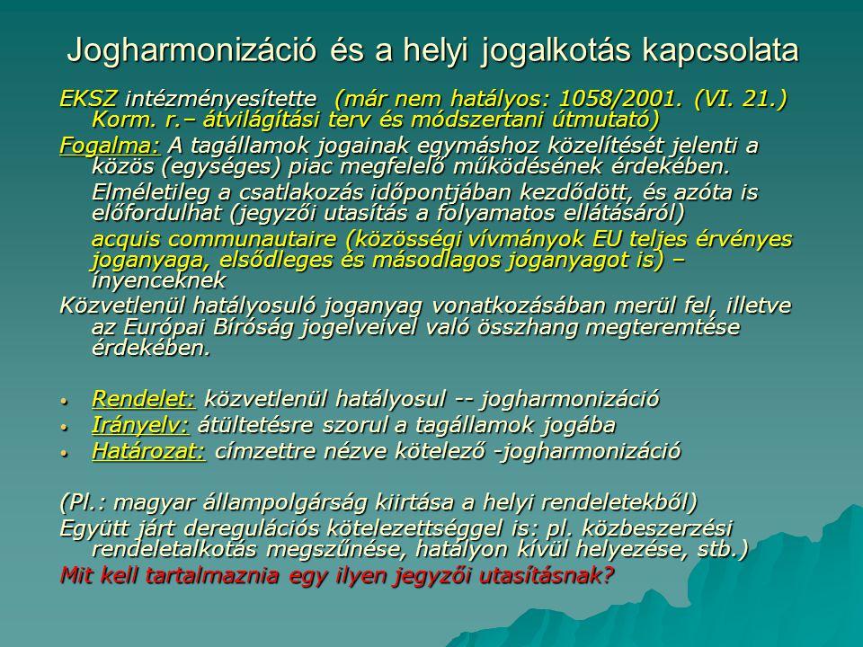 Jogharmonizáció és a helyi jogalkotás kapcsolata