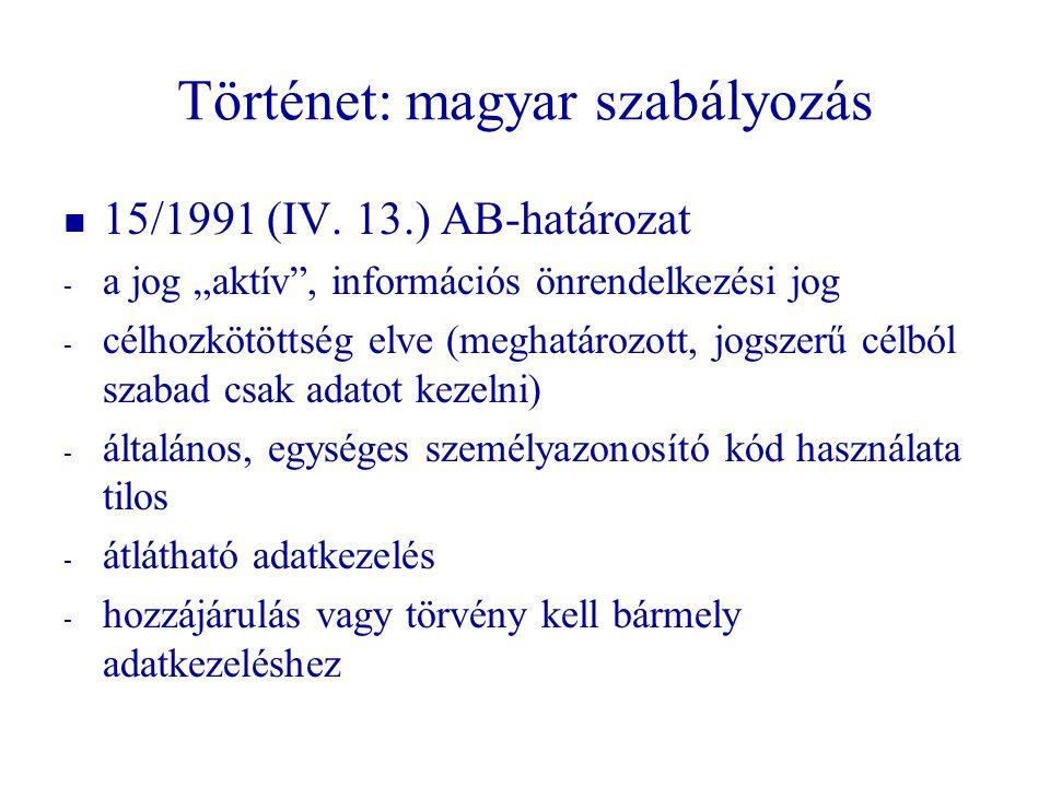 Történet: magyar szabályozás