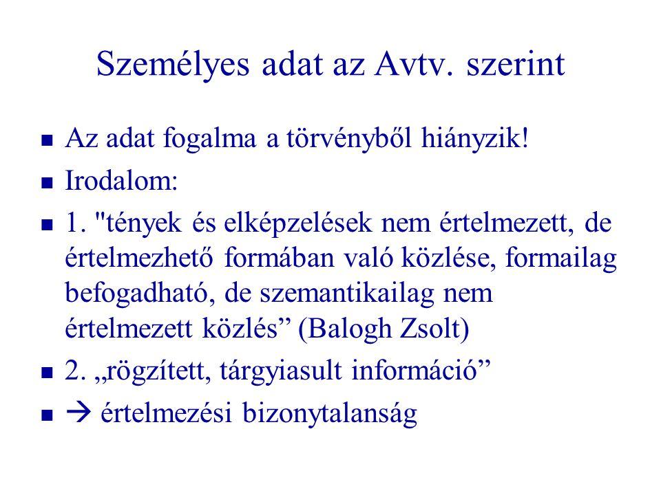 Személyes adat az Avtv. szerint