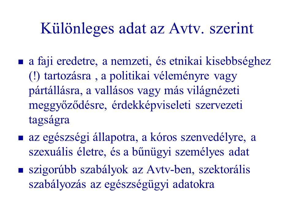 Különleges adat az Avtv. szerint