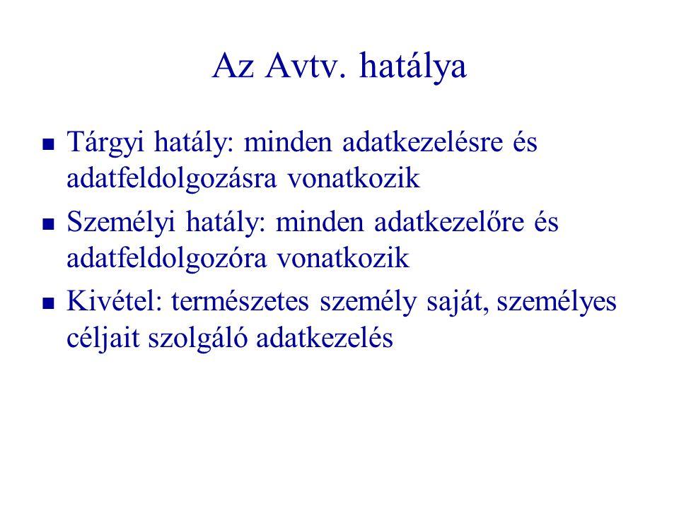 Az Avtv. hatálya Tárgyi hatály: minden adatkezelésre és adatfeldolgozásra vonatkozik.