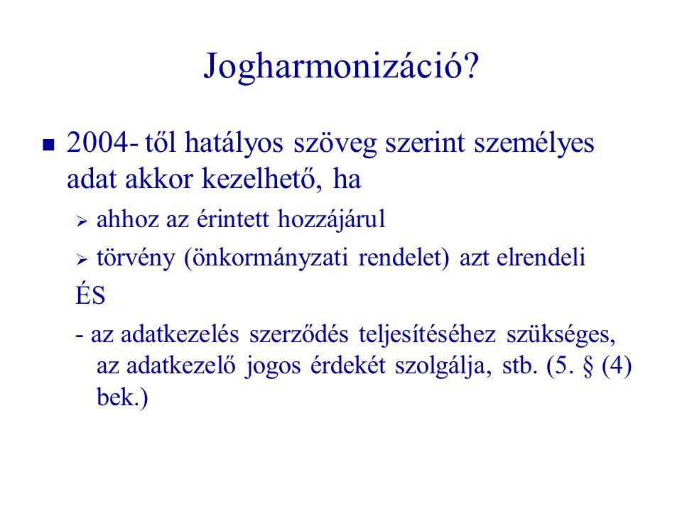 Jogharmonizáció 2004- től hatályos szöveg szerint személyes adat akkor kezelhető, ha. ahhoz az érintett hozzájárul.