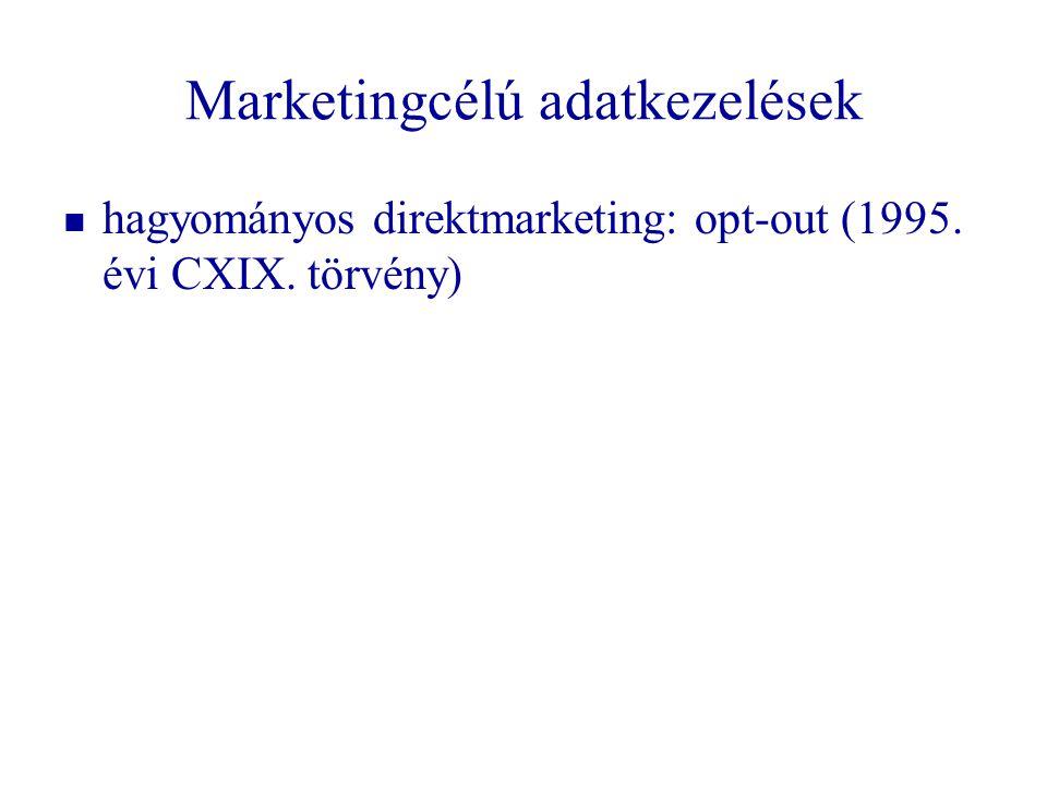 Marketingcélú adatkezelések