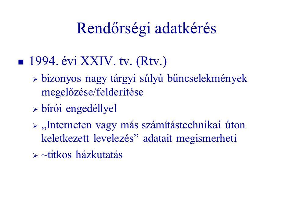 Rendőrségi adatkérés 1994. évi XXIV. tv. (Rtv.)