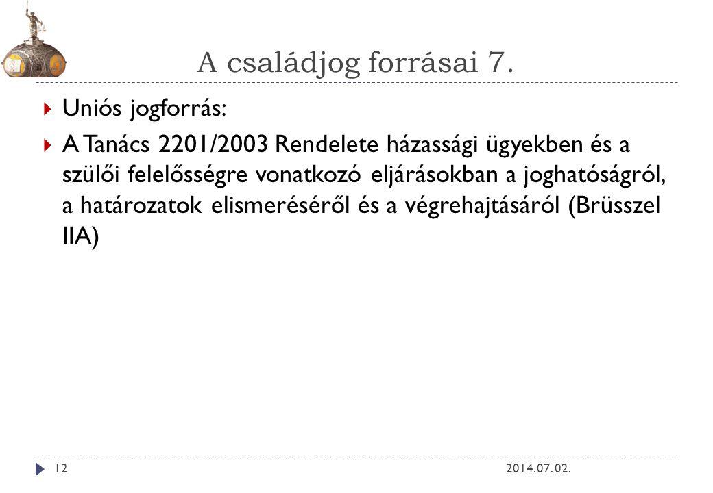 A családjog forrásai 7. Uniós jogforrás: