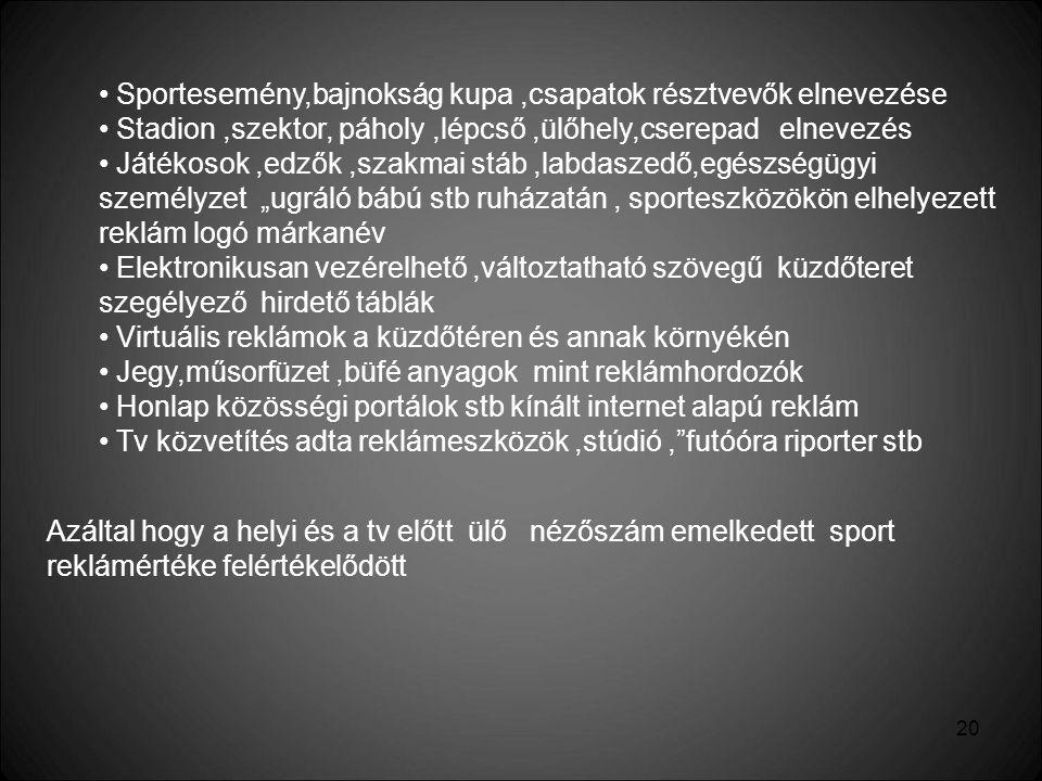 Sportesemény,bajnokság kupa ,csapatok résztvevők elnevezése