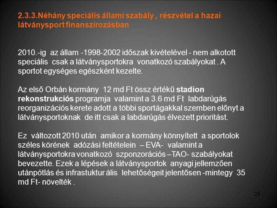 2.3.3.Néhány speciális állami szabály , részvétel a hazai látványsport finanszírozásban