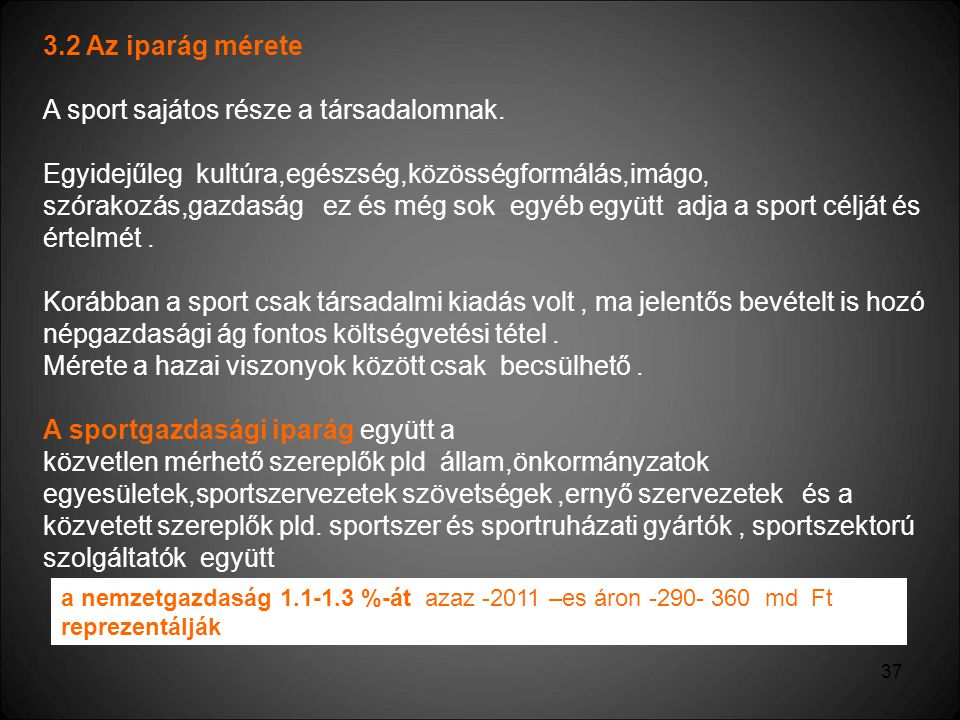 A sport sajátos része a társadalomnak.
