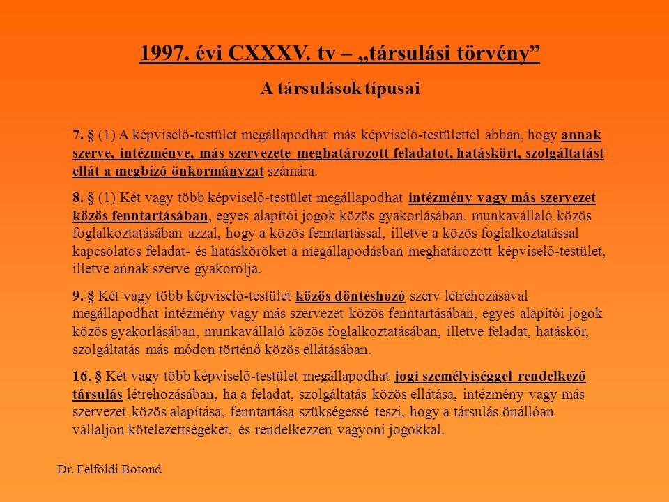"""1997. évi CXXXV. tv – """"társulási törvény"""