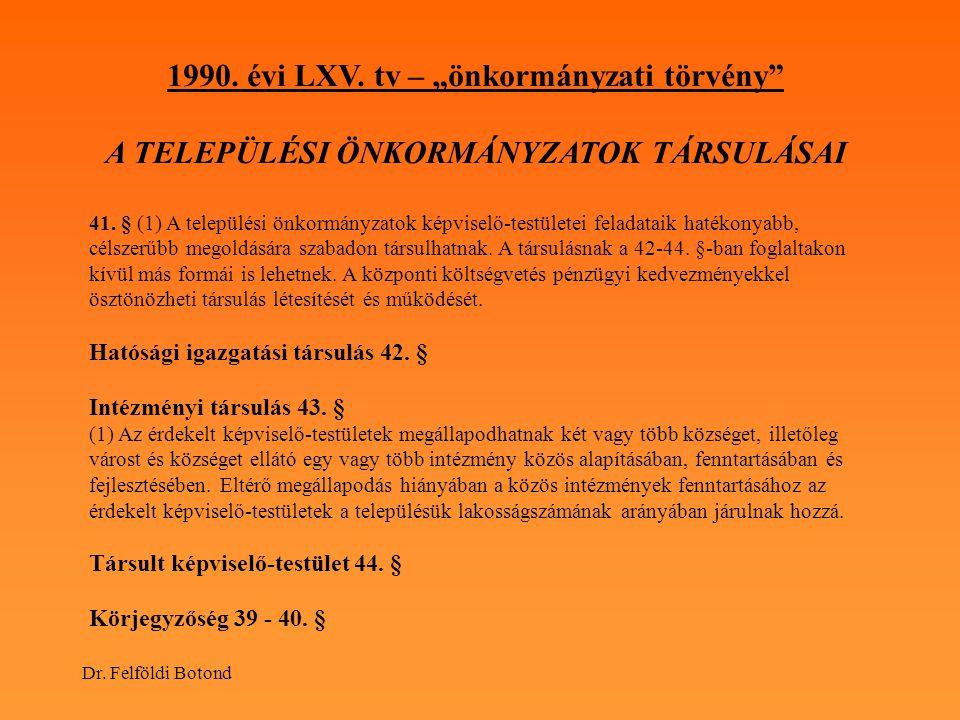 "1990. évi LXV. tv – ""önkormányzati törvény"