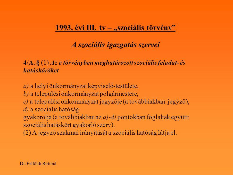 """1993. évi III. tv – """"szociális törvény A szociális igazgatás szervei"""